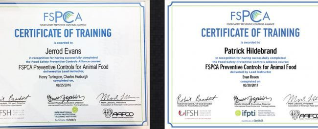 FSPCA Certified for FSMA Compliance